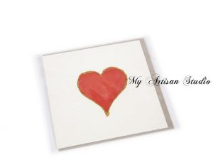 Red & Gold Mother's Day Heart Card