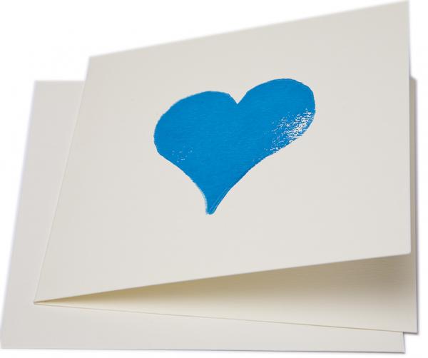 Blue Heart Blank Greeting Card