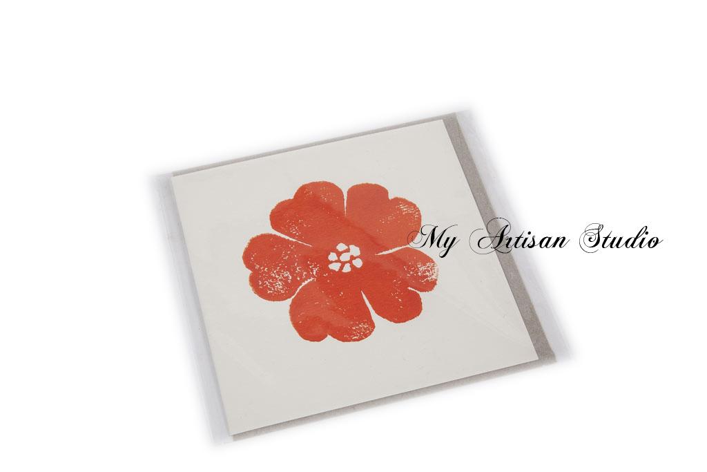 Orange flower hand made gift card Ballarat