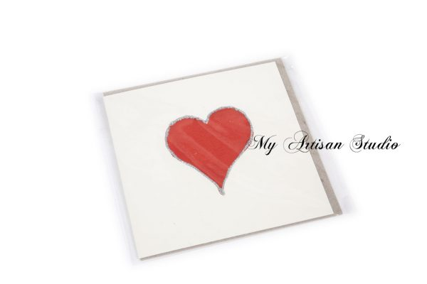 Red heart card Mother's Day