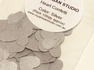 silver heart confetti baby shower wedding decorations