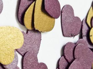 Purple & Gold heart confetti baby shower wedding decorations