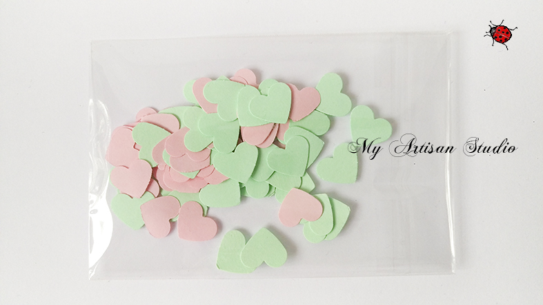 Pink & Green heart confetti baby shower wedding decorations
