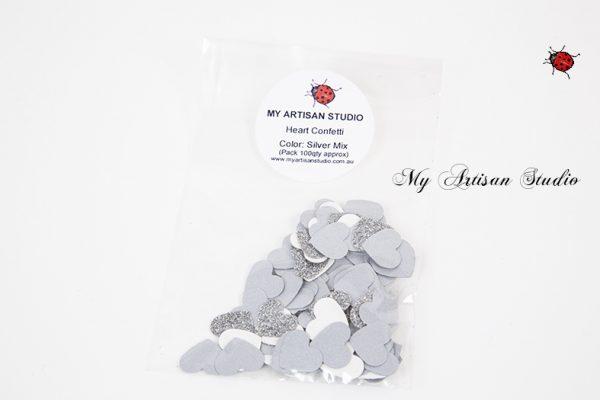 silver & White heart confetti baby shower wedding decorations