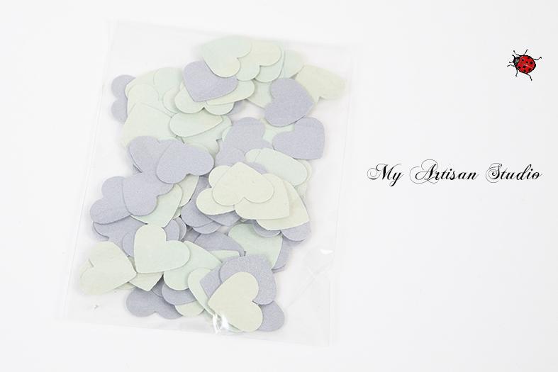 silver & green heart confetti baby shower wedding decorations