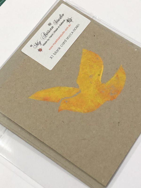 Dove gift card blank greeting card lino printed card Ballarat